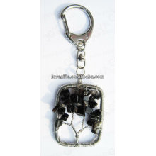 Natural Black onyx chip stone wired lucky tree pendant keychain