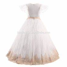 Vestido de boda del vestido de bola del bebé del cordón lleno de la vendimia del palacio vestido de fiesta del bebé de dos piezas para el funcionamiento del piano