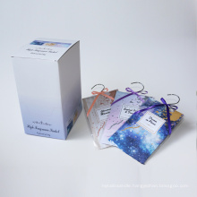 scented sachet with silver hanger in box for home and car
