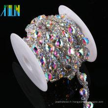 Le métal de chaîne de coupe en cristal équilibre la garniture de fausse pierre pour des vêtements