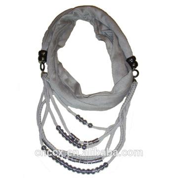 PK17ST172 latest design beads necklace lady scarf