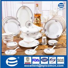 Luxo, dinnerware, jogo, 12, pessoa, usado, dourado, louça ...