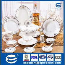 Роскошная посуда набор для 12 человек использовали золотую посуду новый костяной фарфор