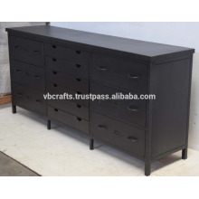 Industrial Metal Multidrawer Cabinet Matt Black Color