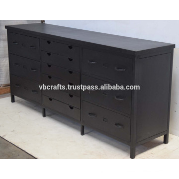 Industrial Metal Multidrawer Cabinet Matt Black Color