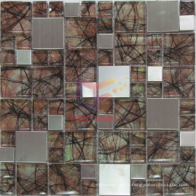 304 Stainless Steel Mix Wall Paper Backed Crystal Mosaic (CFM832)