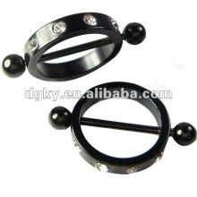 Schwarzer Plate Hoop Nippel Barbell Piercing