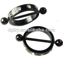 Black Plated Hoop Nipple Barbell piercing