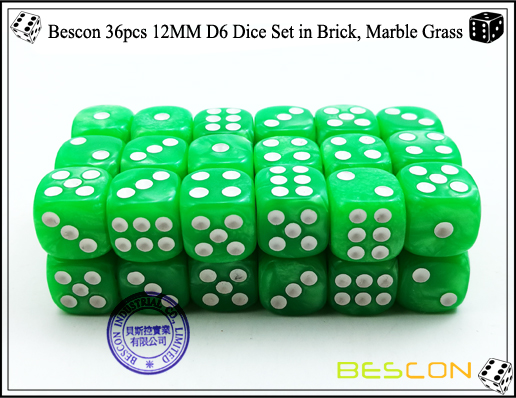 Bescon 36pcs 12MM D6 Dice Set in Brick, Marble Grass-3