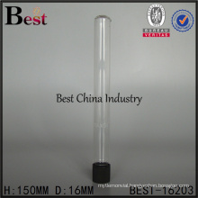 clear custom size glass cork bottle 50ml 100ml medical chemical industry round bottom test tubes with screw caps