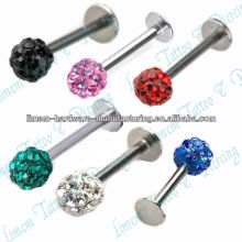 Mixed Czech Crystal Lip Chin Labret Ring Bar Stud Tragus Ball Stainless Steel