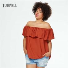 Плюс размер с плеча женщин шифон блузка