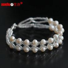 Double Strands 100% Natural água doce Pearl Bracelets Jóias 2015 Novo estilo para o presente das mulheres