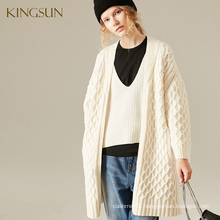 Women's Offwhite 100% Wool Ladies Zipped Cardigant Oversize V Neck Cable Knitted Sweater