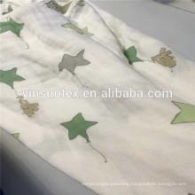 OEM custom full size print cotton/bamboo muslin blanket