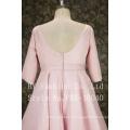 elegant pink short sleeves good fitting ballgown bow knot belt party dress
