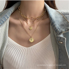 Head coin geometric multilayer necklace women's hip hop ins fashion chain necklace retro
