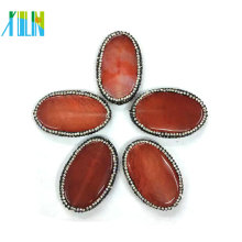 crystal paved brown color egg shape agate slab slice pendants jewelry