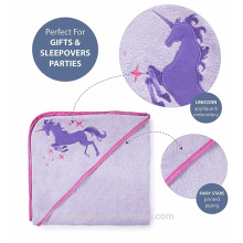 Bamboo baby bath towel Fits for newborns and infants and toddlers --Purple lucky unicorn