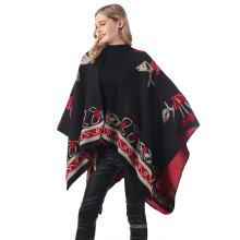 New Fashion  Winter Poncho Cashmere Women Poncho Scarf Wool Shawl Poncho with Tassle