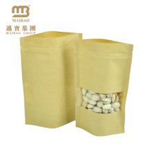 customized brown kraft food packaging paper bags with window in front for tea