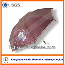 Parapluie mince de tissu de Pongé enduit de couleur avec le bord de dentelle