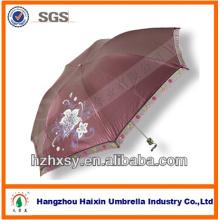 Guarda-chuva de tecido cor pongee revestido fino com borda de renda