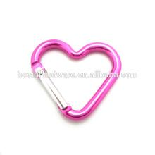 Moda alta qualidade metal personalizado em forma de coração carabiner