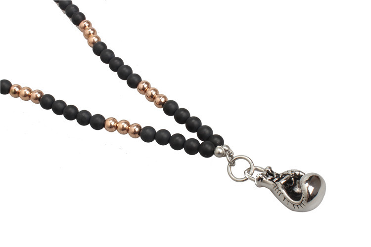 Stainless Steel Fitness Gold Black Pendant Necklace