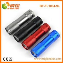 Fuente de fábrica barato coloridos 9 LED linterna de aluminio antorcha con 3 * AAA batería
