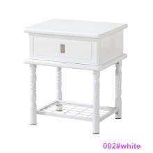 Современная белая древесина и металлическая тумбочка (002 # White)