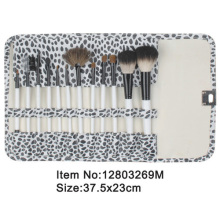 12pcs ivory plastic handle aniamal/nylon hair cosmetic brush set with leopard canvas case