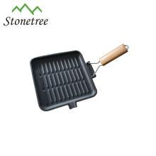 Poêle à griller en fonte avec poignée en bois pliable