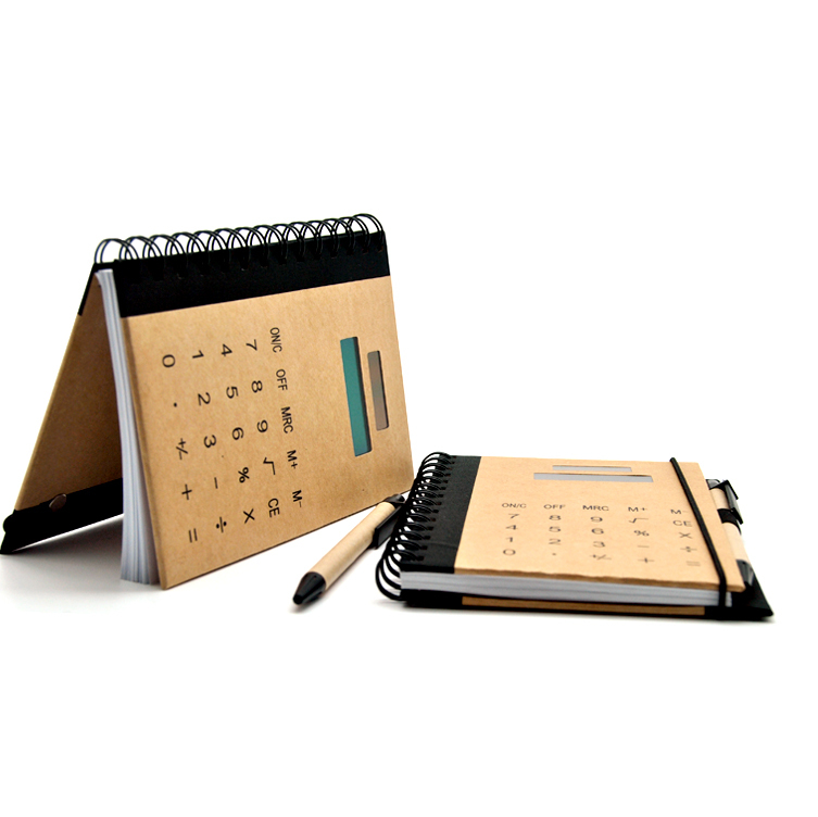 Brown Paper Hardcover Excutive Notebook Calculator con pluma