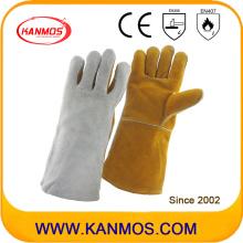 Двойные цвета натуральной кожи, защитные рабочие перчатки для сварки (11124)