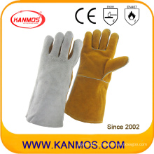 Двойной цвет натуральной кожи промышленной безопасности сварки рабочие перчатки (11124)