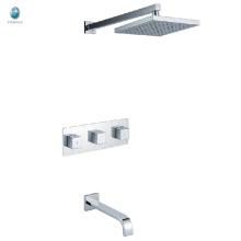 KI-07 moderne Badezimmer Wand montiert Keramikventil Messingkörper verchromt verborgen Dusche Set