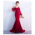 Bridal toast clothes fish tail lantern sleeves long sleeves word long red long sleeved wedding dresses with