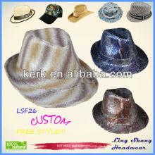 2013 neueste glänzende Sequins-Gewebe Fedora-Hutart und weiseweinlesehut woolen Hüte, LSF26