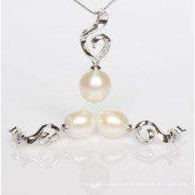 Silber Süßwasser Perle Anhänger und Ohrringe Sets (ES1332)