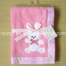 Manta del paño grueso y suave del bebé rosa conejito manta para venta por mayor