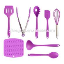 Novos produtos 8 peça de silicone crianças cozinha utensílio de cozinha conjunto para cozinha real