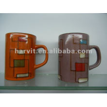Heat Resistant Stoneware Reactive Glazed Coffee/Tea Mugs With Various Colorful Decals & Design Style