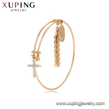 52126 China Wholesale gold plated bangle with gemstone cross pendant fashion bangle for women