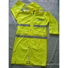 Wholesale PU Coating Safety Rain Coat with Reflective Tape