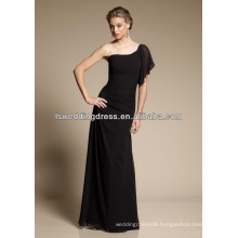 HB2109 Sexy black chiffon obliqued shoulder neckline gathered waist A-line fulle length long flutter sleeve bridesmaid dress