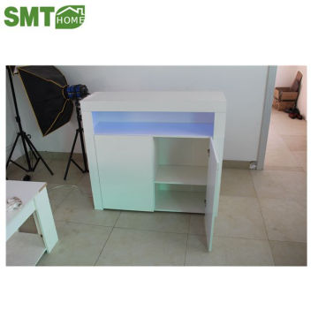 storage white side cabinet multi-color led light living room cheap price