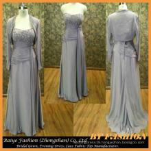 Pegant Plus Dress Grey Color Mother of Bride Dress Chiffon Long Sleeve Mermaid Evening Dress BYE-14081