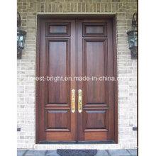 Porta de entrada dupla de madeira maciça com alças