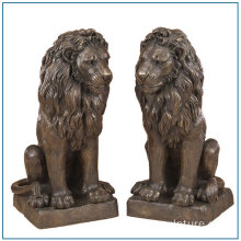 Life Size Bronze Sitting Lion Sculpture